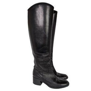 Chanel Black CC Tall Leather Riding Boots